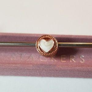 3/$20💜Rose Gold White Heart Charm For Pandora